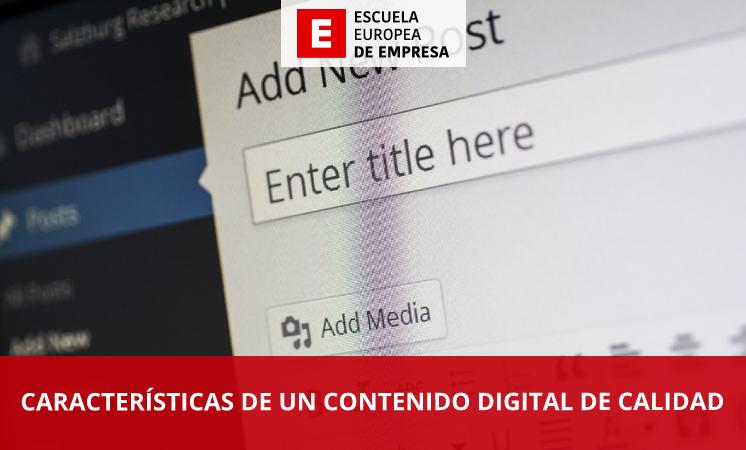 Características de un contenido digital de calidad - EEE